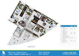 floorplans of rak tower marina square al reem island 4 1 bedroom duplex type j upper 5003 sqft