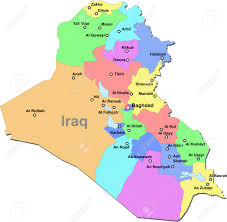 Iraq Map World by Color Iraq Map With Regions Over White Royalty Free Cliparts