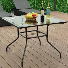 Glass Top Square Dining Table Costway 37 1 2 Square Dining Table Glass Top Deck Patio Yard