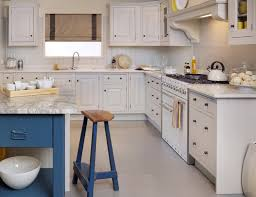 shabby chic painted kitchen cabinets mixed with blue backless