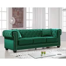 Green Sofa Living Room Emerald Green Velvet Sofa Wayfair