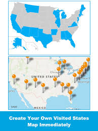 States In Mexico Map Visited States Map Usa Travel Log For Where You U0027ve Been App