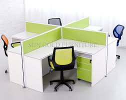 Office Desk Workstation by Hotsale 4 People Partition Office Desk Modern Green White Round