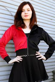 Plus Size Cropped Cardigan Red And Black Harley Quinn Hoodie Hooded Sweater Plus Size