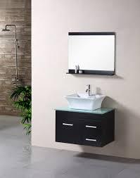 bathroom floating dark wood single sink vanity with wall mirror