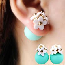 sided earrings pearl flower and sided stud earrings hyperion