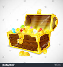 vector illustration treasure chest full gold stock vector