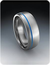 ring titanium thin blue line ring in titanium