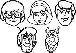 scooby doo all character face coloring page wecoloringpage