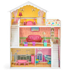 best choice products large childrens wooden dollhouse fits barbie