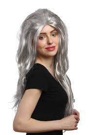 party wig fancy dress grey very long straight teased backcombed