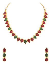 color stone necklace images Buy voylla polki necklace set gold plated adorned with pink and jpg