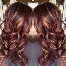 brunette hair color burnished blonde highlights curly long