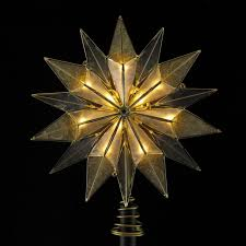 9 lighted 14 point smoked capiz and brass plated starburst