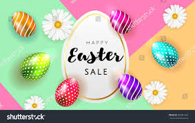happy easter background template beautiful camomiles stock vector