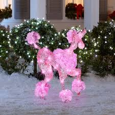 Lighted Dog Christmas Outdoor Decoration by Shop Gemmy Lighted Poodle Outdoor Christmas Decoration With Pink