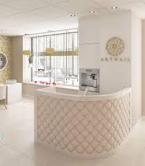 tufted salon reception desk sculptural reception desk with sculpture instead of plant on the