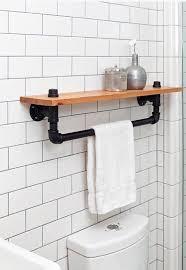 industrial towel rack shelf rustic bathroom accessory black