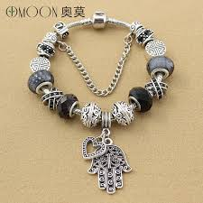 silver bead bracelet with charm images Viovia fashion jewelry hamsa hand charm bracelet black glass charm jpg