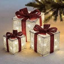 christmas present light boxes set of 3 led light up festive christmas gift parcel box set