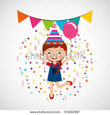 happy birthday celebration card kid vector stock vector 571603006