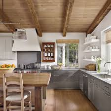 kitchens without upper cabinets open shelving beams and kitchens
