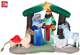 gemmy airblown inflatable nativity scene w camel donkey and sheep