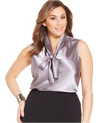 plus size blouses for work nine plus size sleeveless tie neck blouse in purple platinum