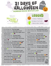 days of halloween horror nights 31 days of halloween 2017 horror movie marathon list printable