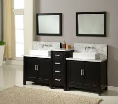 black vanity and perfect double sink design for edgy bathroom