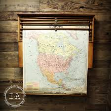 1 8 Maps Vintage Schoolhouse Pull Down Map Cabinet A Flanagan Company