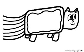 nyan cat fast simple coloring pages printable