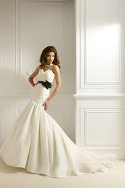mermaid sweetheart taffeta ivory wedding dress with black belt