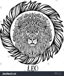 detailed lion aztec filigree line art stock vector 474864457