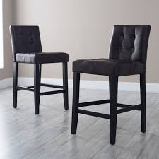 Backless Counter Stool Leather Palazzo 26 Inch Counter Stool Brown Set Of 2 Hayneedle