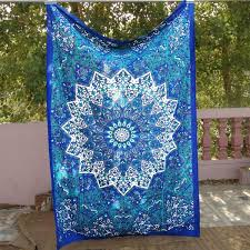 Indian Inspired Bedding Ocean Blues Bohemian Tapestry Boho Decor Wall Hanging Table Cloth