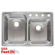 shop franke fast in 33 5 in x 22 5 in double basin stainless steel