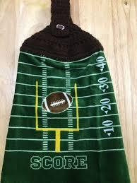 football man cave score crochet top cotton velour kitchen towel