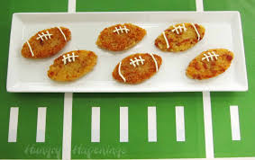 football shaped prosciutto and asiago rice cakes hungry happenings