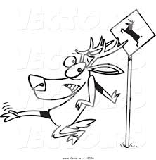 vector of a cartoon crossing deer outlined coloring page by