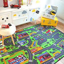 tapis pour chambre bébé garçon tapis de jeux circuit de voitures ville 145x200 cm chambre enfant