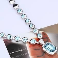 Discount Menton Ezil Valentines Gifts Rose Lover Swarovski Necklace 18k White Gold Flower Pendant Fashion Jewlery Gift Of Love Amazon Com