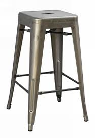 Backless Counter Stools Classic Black Metal Adjustable Stool With Natural Wrought Iron