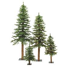 vickerman 2 3 4 unlit bark alpine tree set