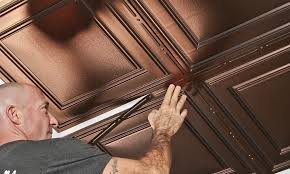 Installing Ceiling Tiles by Stratford Vinyl Ceiling Tiles Bronze 2x4 Faux Metal Tiles