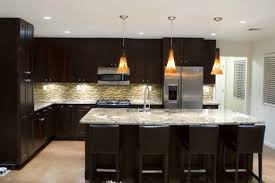 awesome kitchen lighting ideas with black furniture and white tile