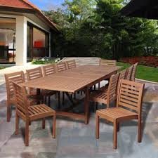 Patio Table Wood Ten Person Patio Dining Sets You U0027ll Love Wayfair
