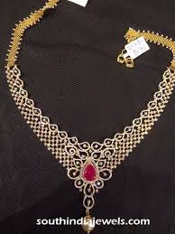 jewelry necklace designs images Diamond jewellery necklace design south india jewels jpg