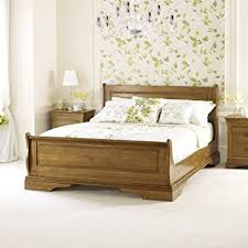 Oak Sleigh Bed Louis Solid Oak 5ft King Size Sleigh Bed Co Uk