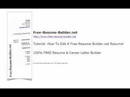 how to edit your resume using free resume builder net youtube